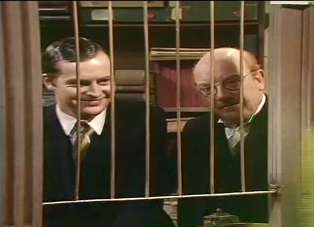 Stupid boy! Arthur Lowe as manager Mr Mainwaring (left) and Ian Lavender as Frank Pike, banking in Dad's Army