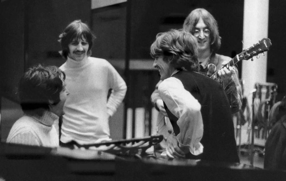 The Beatles recording the White Album at Abbey Road in 1968