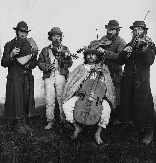Village orchestra of Ruthenian and Jewish musicians in Verecke, Bereg County, Hungary 1895