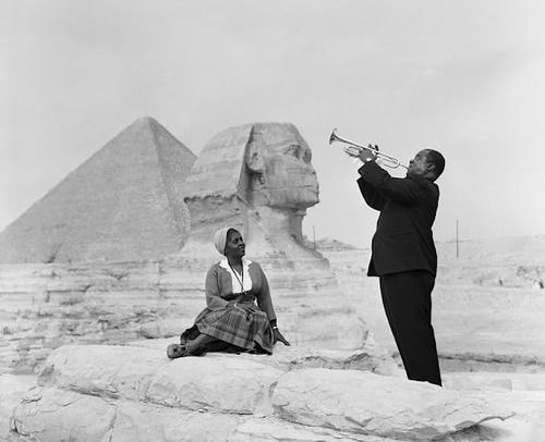 Louis Armstrong and his wife at Pyramids in Egypt in 1961