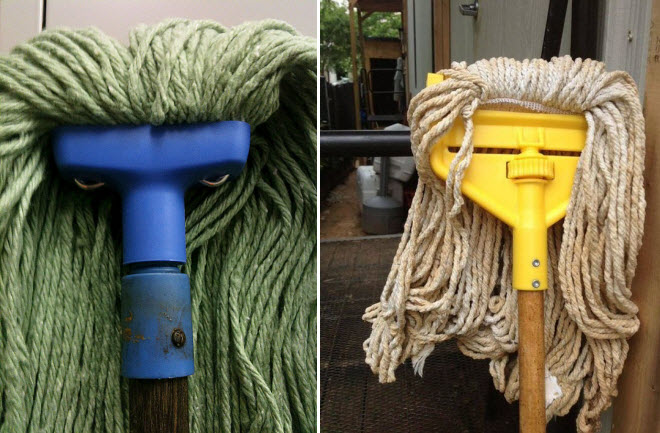 Not so much an angry mob, as an angry mop. Well you would be, doing that work all day.