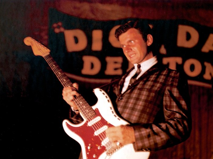 Dick Dale in the full 60s surf mode with the Del-Tones