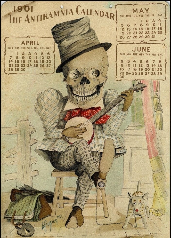 Timeless melodies: a page from the Antikamnia Chemical Company's Skeleton Calendar for 1901