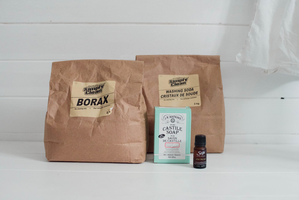 borax & washing soda in Kraft bags display nicely | amazon.ca  Watkins Castile soap | well.ca  Refresh oil blend | saje.ca