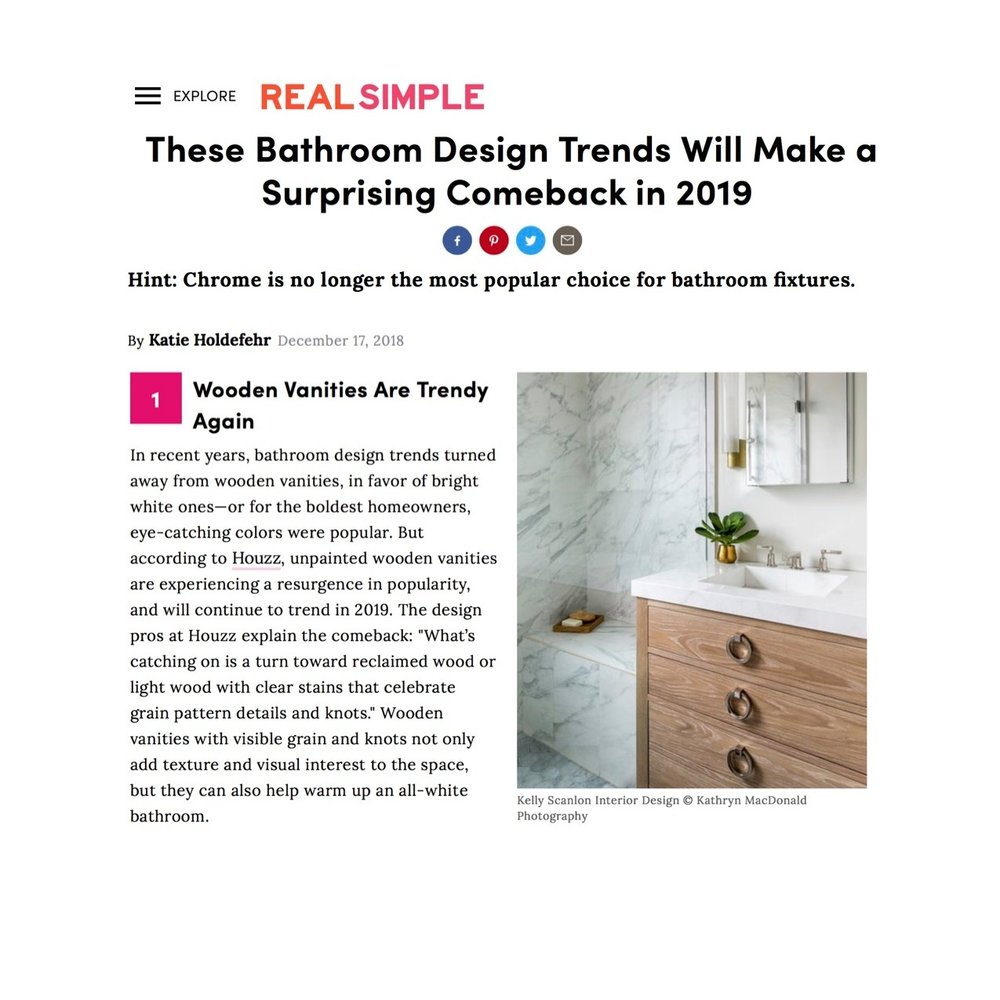 """""""Wooden vanities are trendy again…unpainted wooden vanities are experiencing a resurgence in popularity and will continue to trend in 2019""""  Kelly Scanlon Interior Designs photo"""