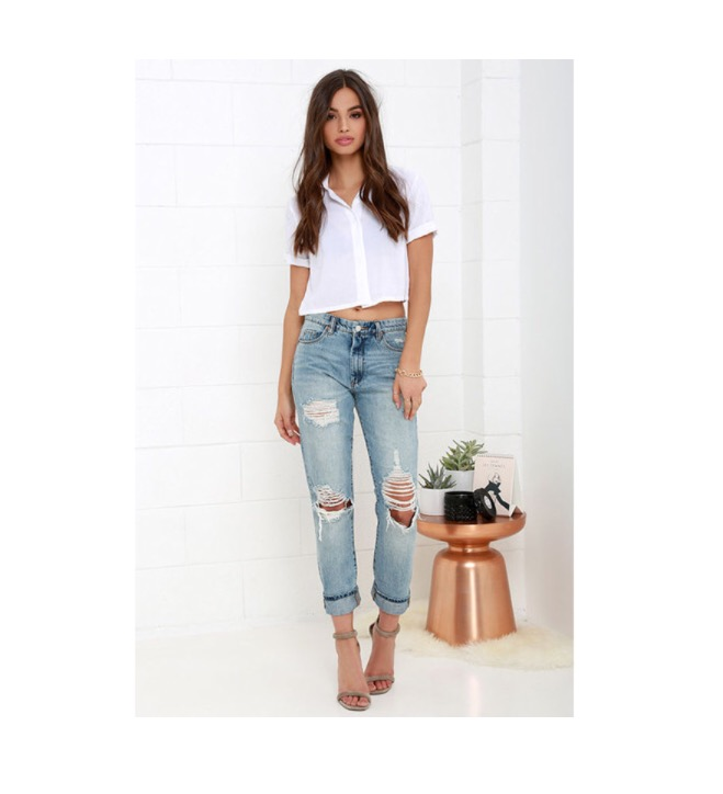 Damsel in Distress  Blank NYC Thrifter Light Wash Distressed Boyfriend Jeans - $98 (lulus.com)