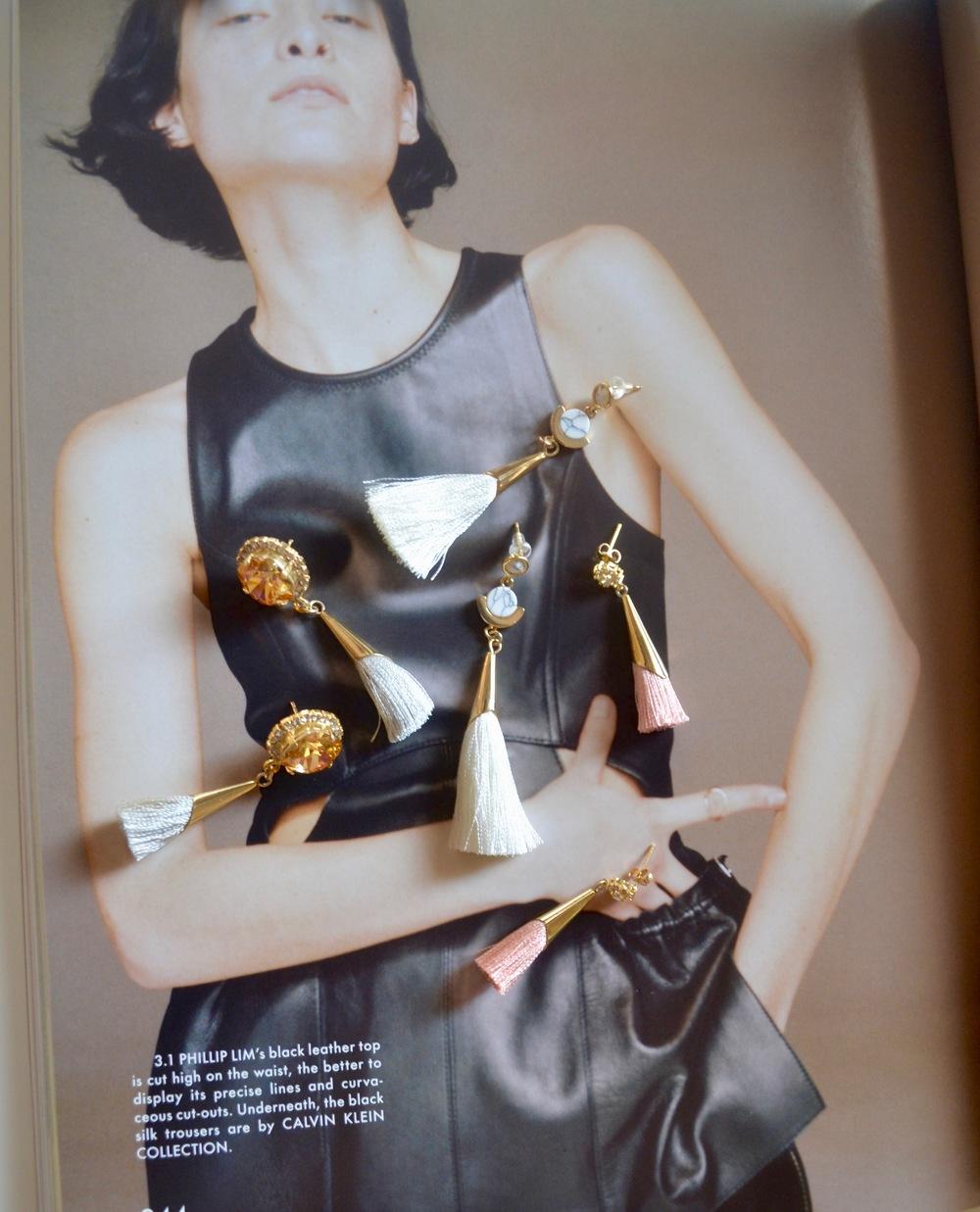 Pictured:Daliyah Mini Tassel Earrings, Despina Marble Tassel Earrings