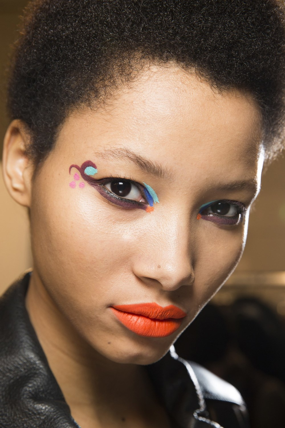 Fendi - Some models also wore a contrast lip, in orange-red or - in one case - bold yellow.