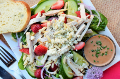 Summer Spinach Salad with Pork Loin & Strawberries and Cherry-Rhubarb Dressing