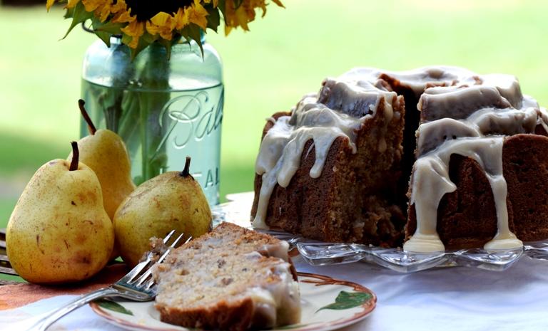 Fresh Pear, Ginger & Spice Cake with Lemon & Honey Brown Butter Glaze (Bundt)