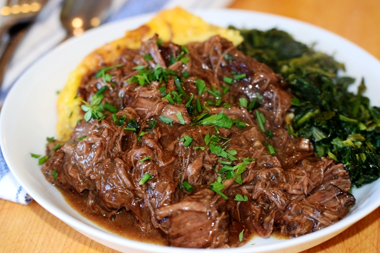 Tender and delicious Crock Pot Beef Ragout with Onions served with Cheesy Baked Grits and Sauteed Spinach