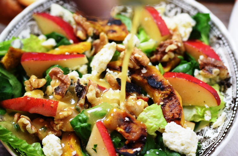 Autumn Roasted Acorn Squash, Pear, Blue Cheese & Walnut Salad with Roasted Shallot & Pear Dressing.