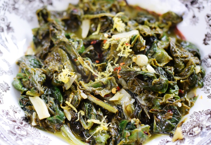 Sauteed Swiss Chard with Garlic, Lemon & Red Pepper Flakes
