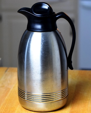 My favorite, well-worn stainless coffee carafe. I love this thing!