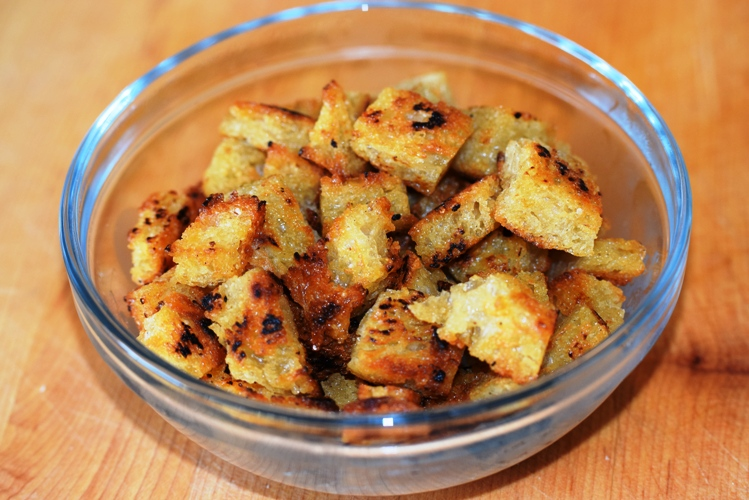 Homemade Croutons made from No-Knead Country Bread