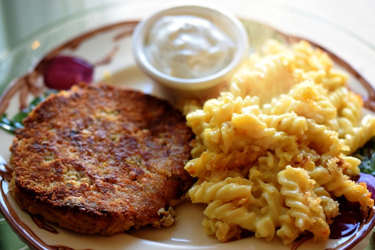 Favorite Salmon Cakes with a Side of Baked Mac & Cheese