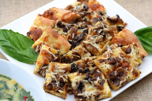 Flatbread with Wild Mushrooms & Gruyere Cheese