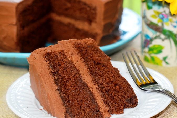 Delectable Sour Cream Chocolate Cake with Fudgy Frosting is my husband's favorite!