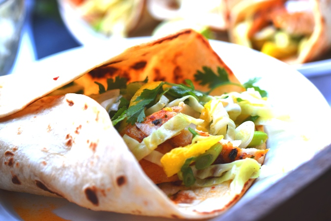 Fish Tacos with Mango Slaw