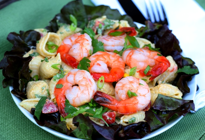 Shrimp & Pasta Salad dressed with Creamy Avocado Dressing