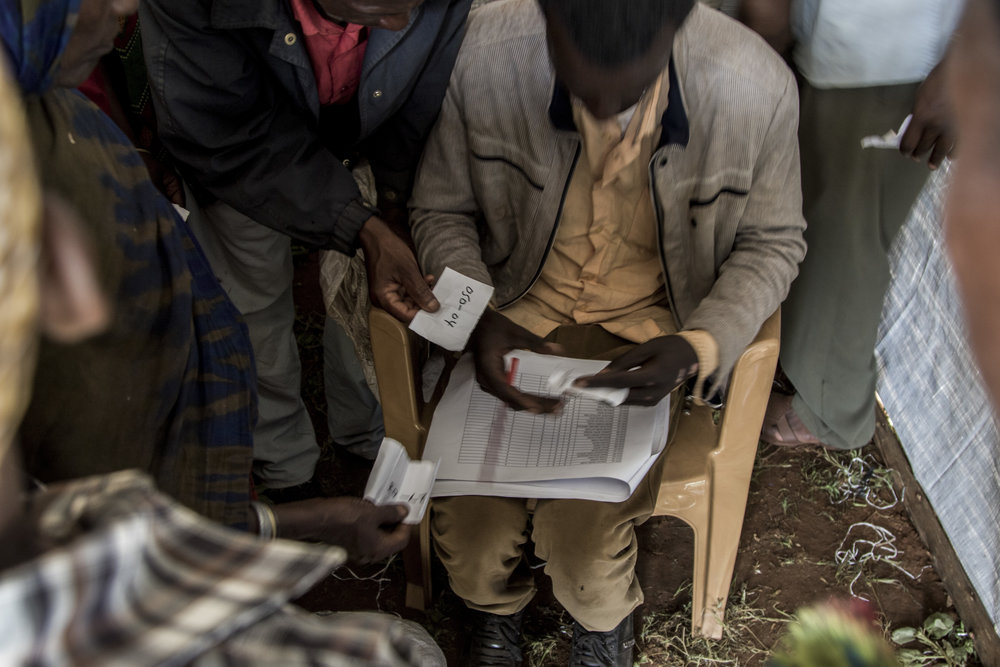 April 1, 2018, Dambala Fachana, Kenya- Ethiopian refugees prove their identification in order to receive rations of food.