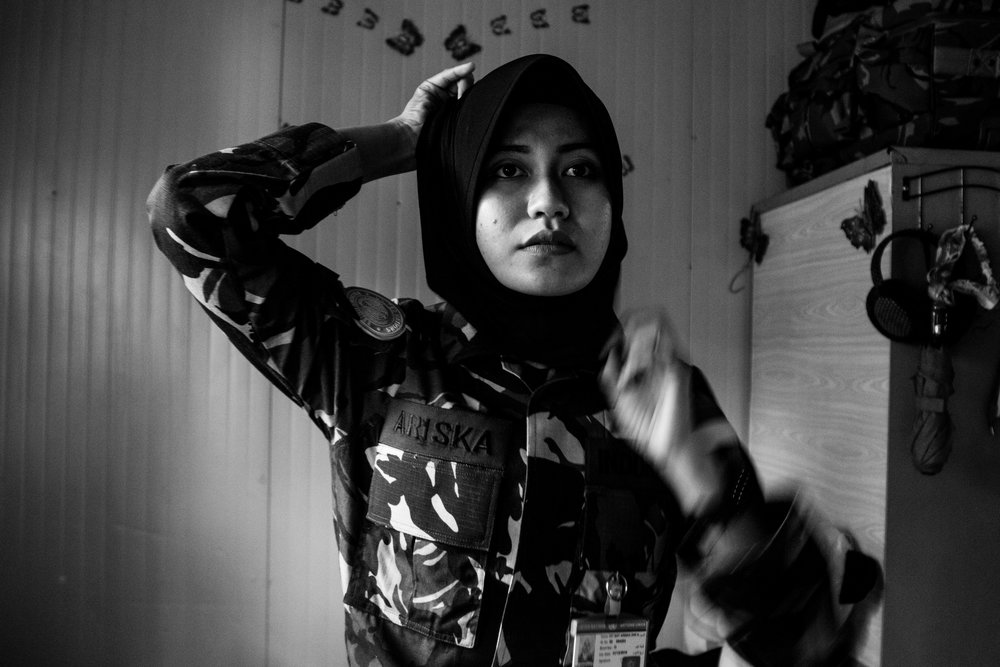 May 4, 2018, UNIFIL- SFC  Ariska (24), puts her hijab on before the day begins in her bunker.