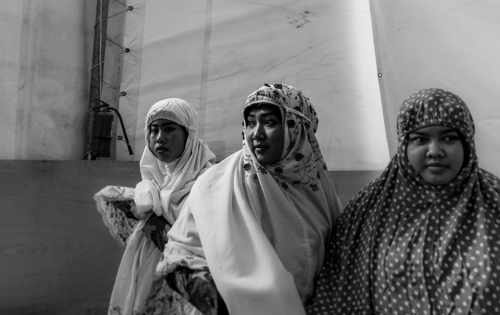 May 4, 2018, UNIFIL- Three Indonesian women put on their prayer clothes in the makeshift mosque at their base.