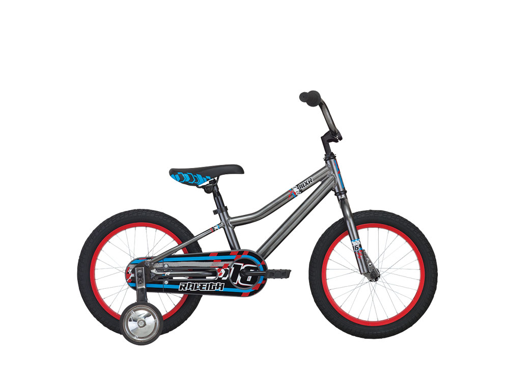 "Raleigh MXR 16 - a 16"" wheel kid's bicycle with training wheels included"