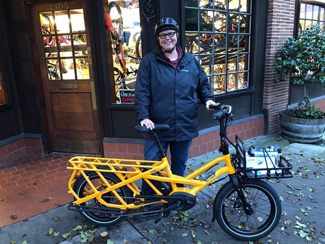 Beck loves her new #Tern GSD S00. New bike at Blue Heron Bikes