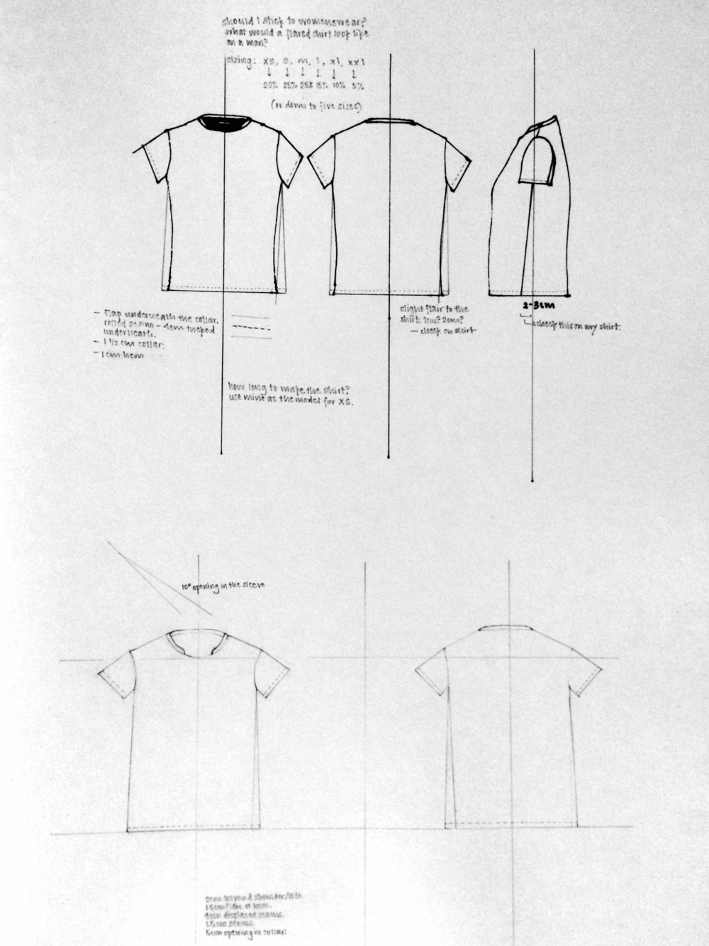 Earliest Flat Drawing of The Shorter Tee.