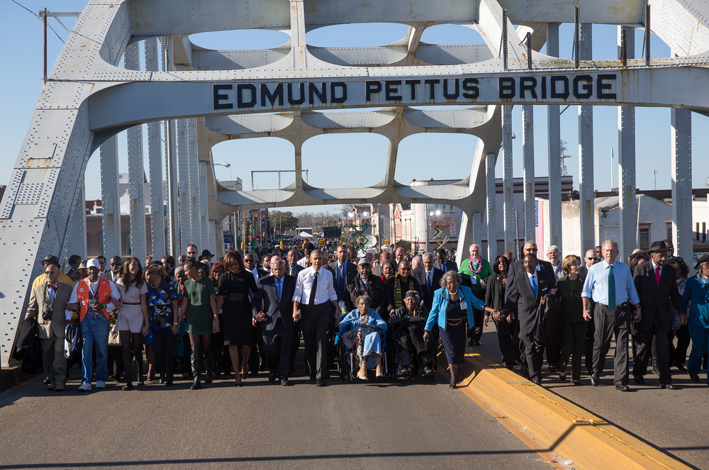 """ The Obamas and the Bushes continue across the bridge "" Official White House Photo by Lawrence Jackson."