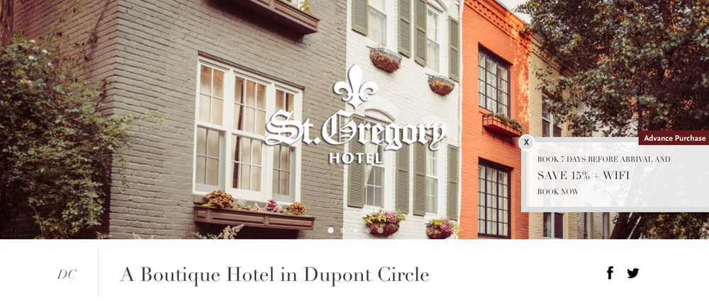 I wrote all of the copy for the St. Gregory Hotel website.