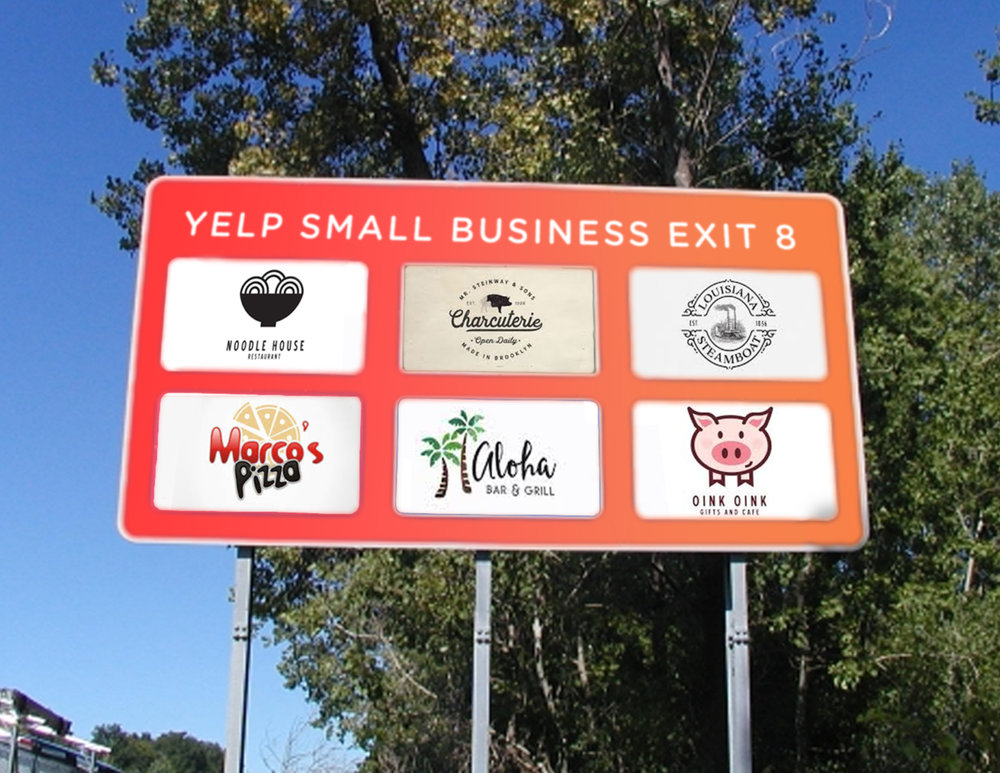 Where are people most often driven to eat at chain restaurants? On road trips, when they're not familiar with the area and use highway exit signs as guides. As a temporary stunt, Yelp would put up branded highway exit signs and feature small businesses off of highly-trafficked exits across the U.S.