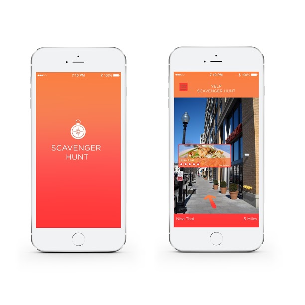 When someone changes their location within the app, indicating that they're in a new city, a pop up notification will ask if they would like to participate in a scavenger hunt via Monocle for a discount at a local restaurant with 4 stars or more.   Users would hold up the Monocle tool in order to find the pre-selected restaurant within 5 miles. Once they find it, they tap it to indicate they've found it. When they arrive at the restaurant, they will receive a discounted meal compliments of Yelp.