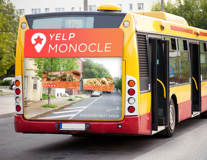 As a temporary stunt, Yelp would take over select bus routes in different cities to showcase the AR tool. Every 5 miles along the bus's route, a preprogrammed small business in the area would show up on the side of the bus.