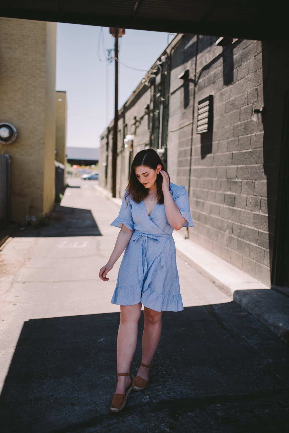 About the look | In frame: Emily Kidd | Dress:  Gap  | Shoes:  H&M