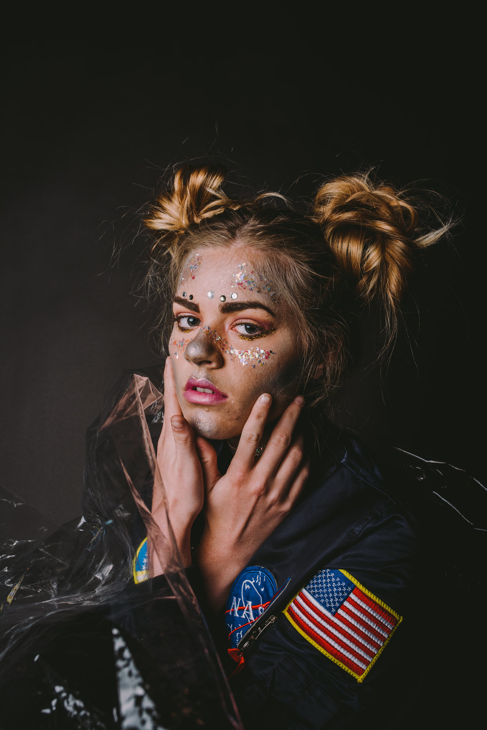 Model:  Cheyanne Cook  | Hair & Makeup:  MUA Hailey  | Outfit:  NASA Bomber Jacket