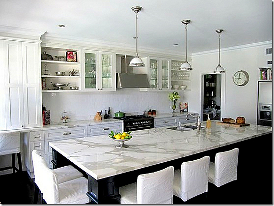 honed white marble kitchen