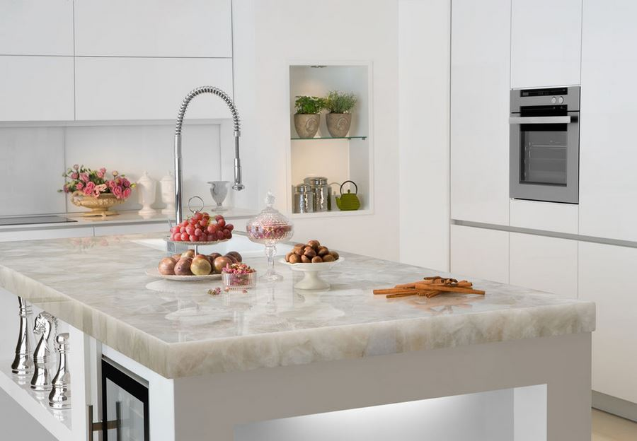 White Quartz Countertop By Marble Of The World.