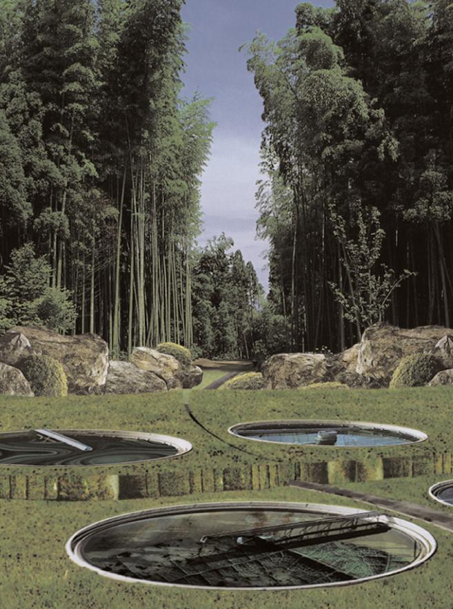 Visualisierung aus unserer ersten gemeinsamen Konzeptarbeit während des Studiums, WS 1998/99: ARCADIA - Ein Park für Zürich Nord