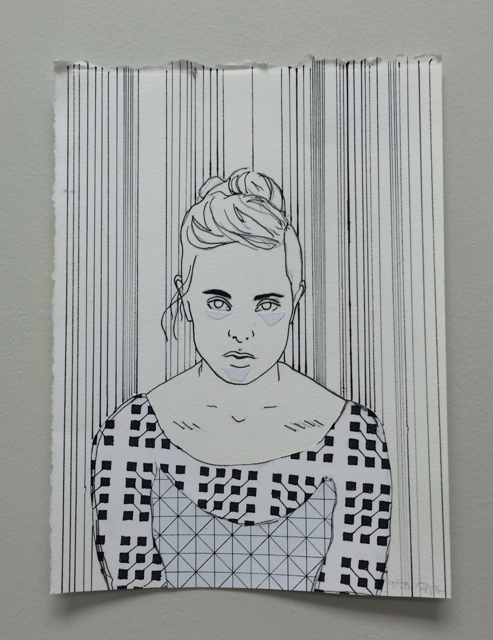 "jess, 6""x9"" pen on paper, 2015"