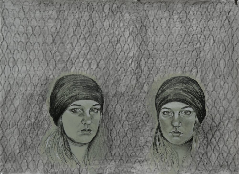 "double portrait, gesso and pencil on paper, 22"" x 30"" 2016"