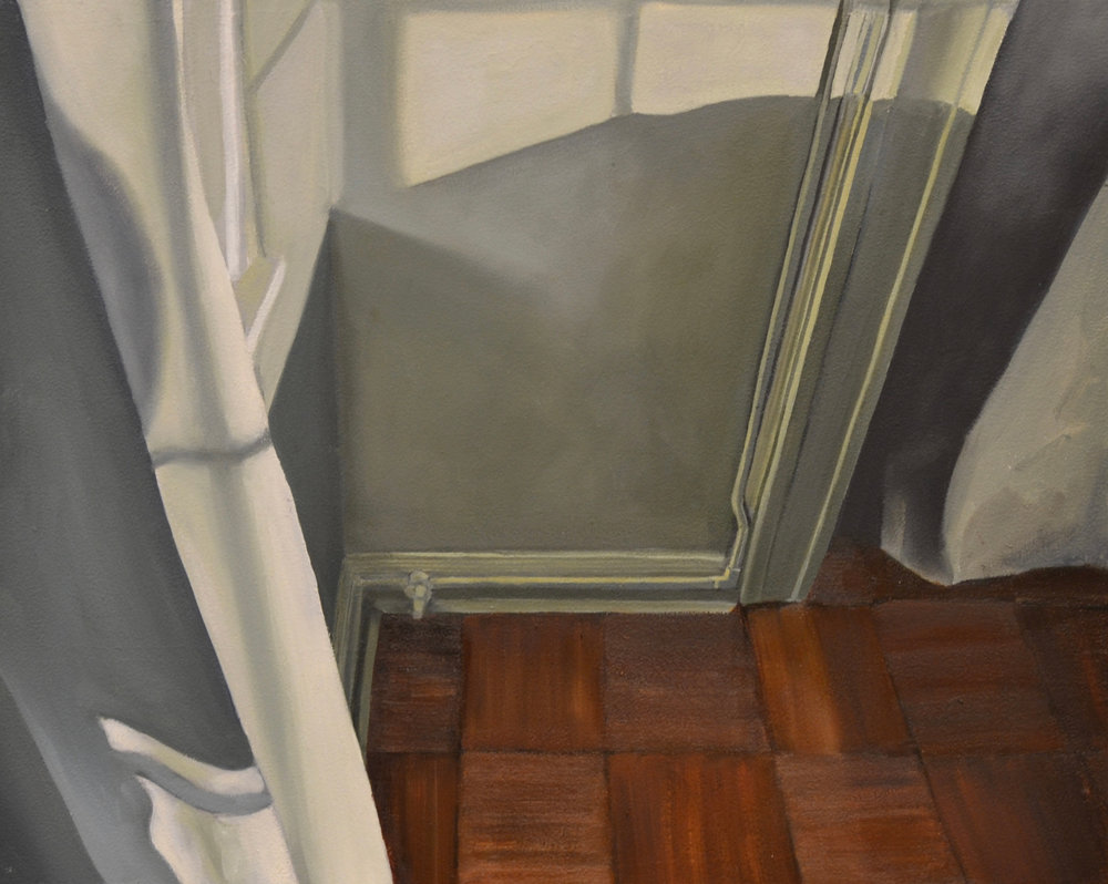 "Corner, oil on panel. 16""x13"" 2017"