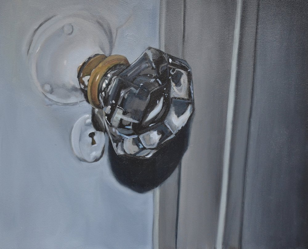 "Doorknob, oil on panel, 13"" x 16"""