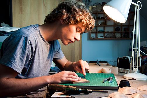 Laurence Brand working in his studio