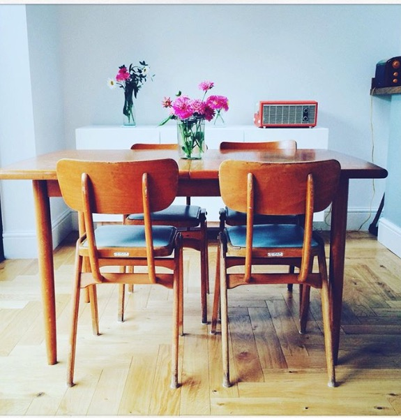 Well how fine do these stacking utility chairs look in this great Manchester space! the chairs originate from a Liverpool Social club and fit perfectly in this new home...