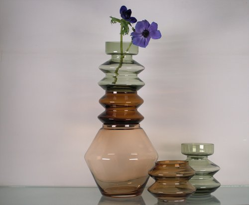 Stackable Cognac Smoked Glass Vase Cup Cloth