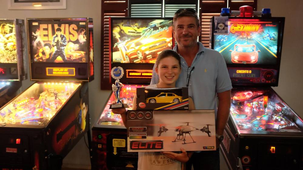 Mia De Riz - Highest qualifying player under 15 years of age at the recent 2016 Pinball HQ Marathon. Look at all those prizes!