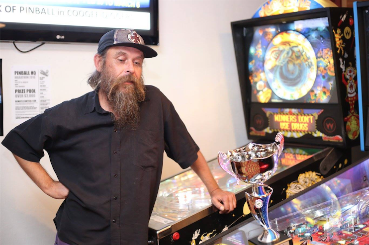 Greg, winner of the 2016 Pinball HQ Marathon. Photo taken from the  Australian Pinball League Facebook page .