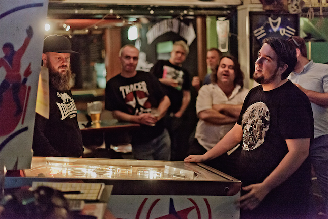 John trying to win a second pinball machine in the Z-Ball Pinball Final 11, 2015.  Photo by Matthew Venables:  mvenables.com